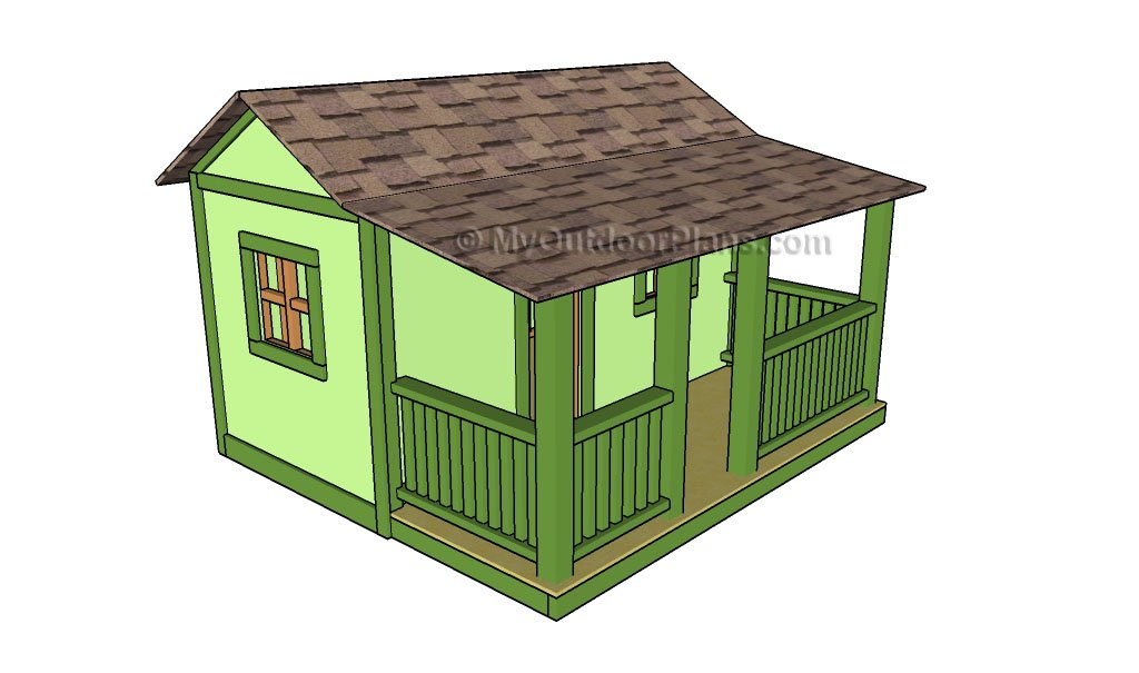 Wooden playhouse plans howtospecialist how to build step for Free playhouse blueprints