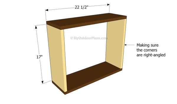 Building the frame of the bathroom shelves