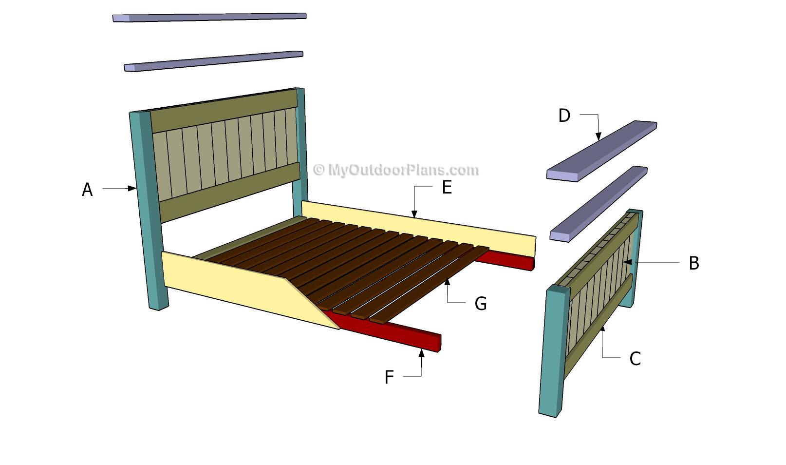 Queen Size Bed Plans | MyOutdoorPlans | Free Woodworking Plans and ...