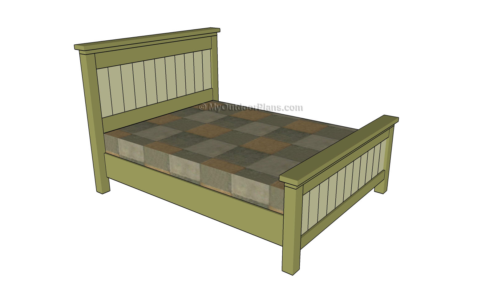 Queen size bed plans free outdoor plans diy shed for Queen size bed frame