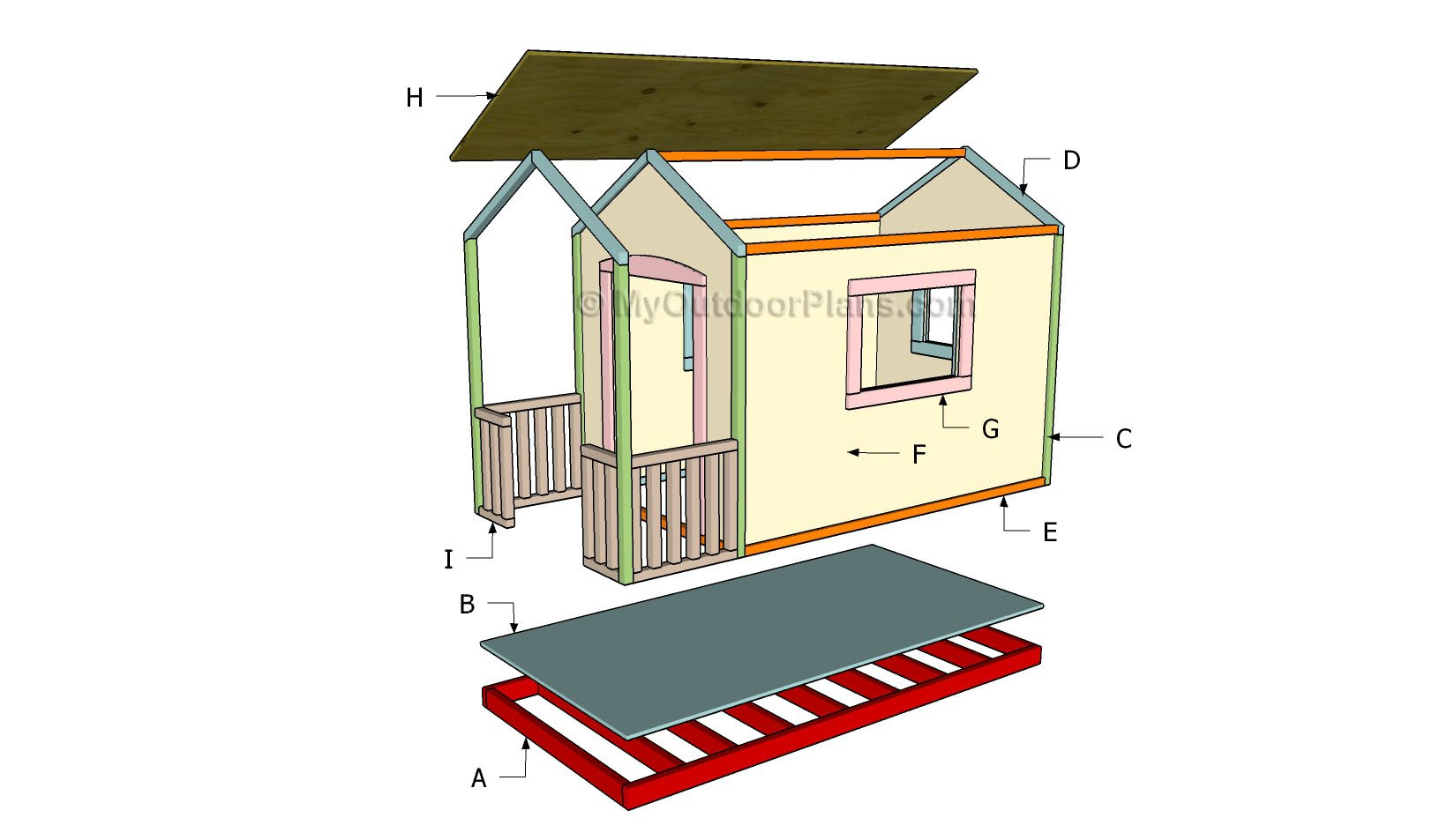Playhouse roof plans myoutdoorplans free woodworking for Simple outdoor playhouse plans