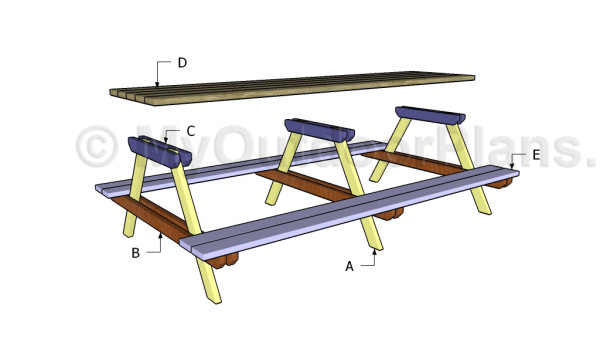 Building a long picnic table