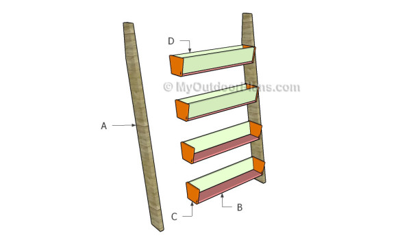 Vertical tiered planter ladder plans myoutdoorplans free woodworking plans and projects diy - Ladder plant stand plans free ...