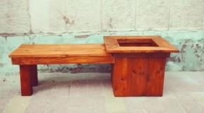 Wood Planter Bench