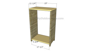 Assembling the frame of the recycling cabinet