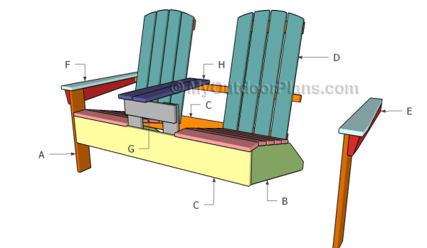 Double Adirondack Chair Plans | MyOutdoorPlans | Free Woodworking ...