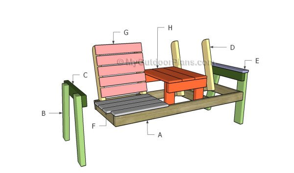 Chair Bench with Table Plans | MyOutdoorPlans | Free Woodworking Plans ...