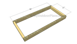 Building the frame of the cornhole