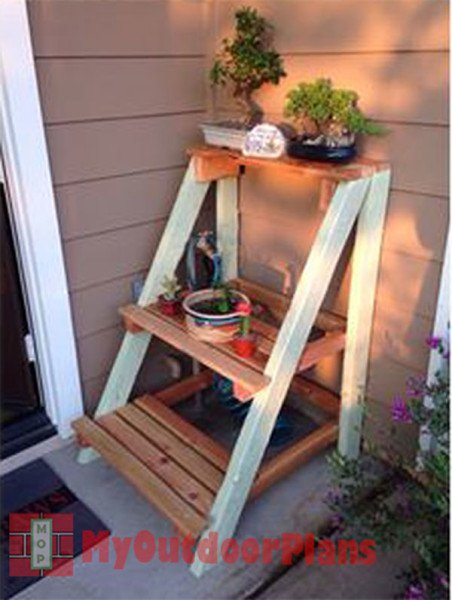 Outdoor plant stand myoutdoorplans free woodworking plans and projects diy shed wooden - Ladder plant stand plans free ...