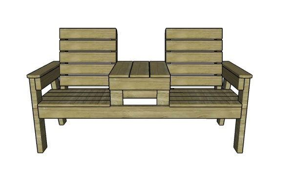 Double chair bench with table plans. Double Chair Bench with Table Plans   MyOutdoorPlans   Free