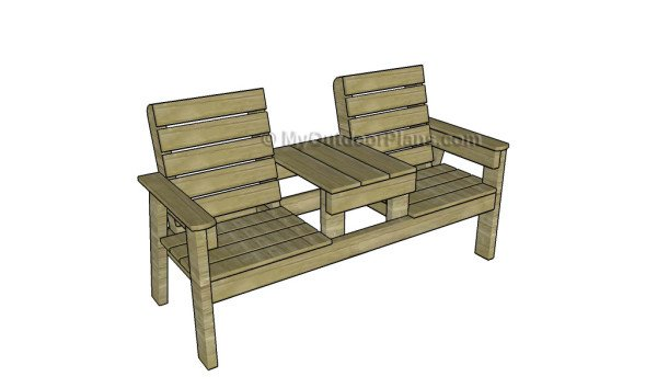 Double Chair Bench with Table Plans | MyOutdoorPlans | Free ...