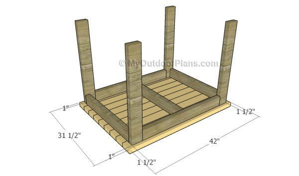 Attaching the tabletop slats