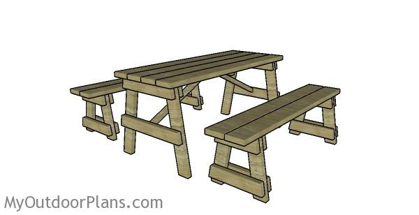 ft picnic table  benches plans myoutdoorplans  woodworking plans  projects diy