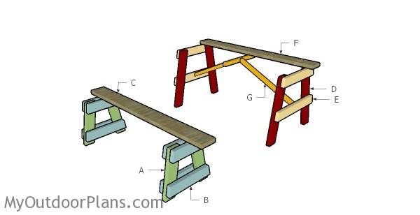 Building a 5 foot picnic table with benches