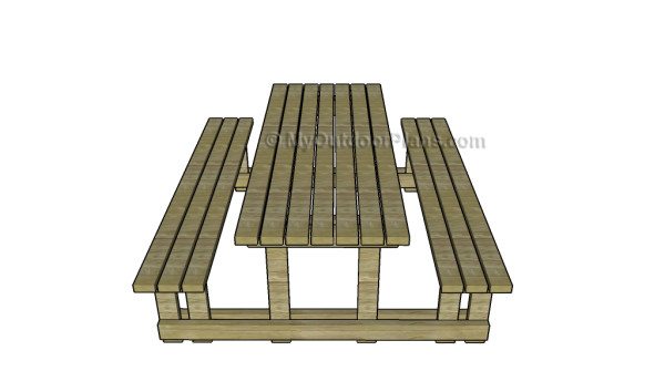 picnic table with detached benches plans myoutdoorplans free picnic ...