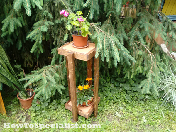 DIY Plant Stand with Tile Tops
