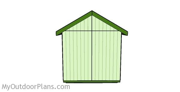 8x8 Shed Plans - Back View