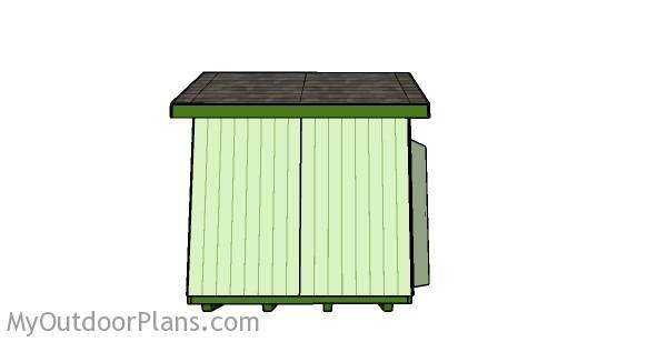 8x8 Shed Plans - Side view