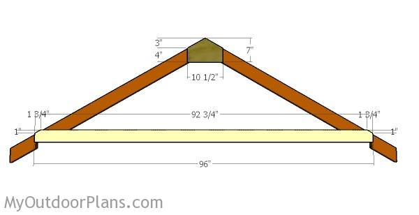 How to build a 8x8 shed roof myoutdoorplans free for Premade roof trusses