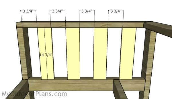 Fitting the slats to the sides of the couch