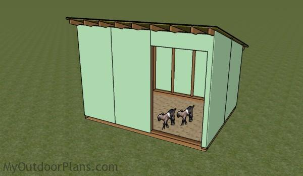 Goat Shelter Plans | MyOutdoorPlans | Free Woodworking Plans ... on maltese house plans, swine house plans, goat wagon plans, sheep hoop barn plans, goat housing plans, goat kidding pen plans, dog house plans, goat shelter plans, pygmy lamb, goat feeder plans, pigeon house plans, goat building plans, goat playground plans, snowy owl house plans, ostrich house plans, pygmy owls as pets, diy goat stanchion plans, chicken house plans, goat barn plans,