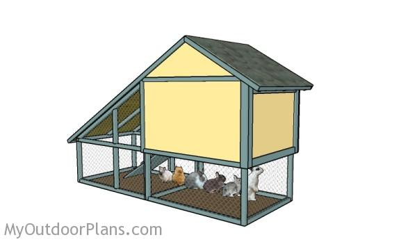 DIY Rabbit hutch plans - Back view