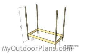 Fitting the bed frame to the posts