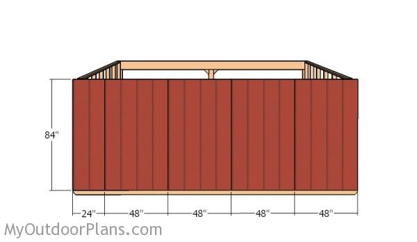 Attaching the back siding panels