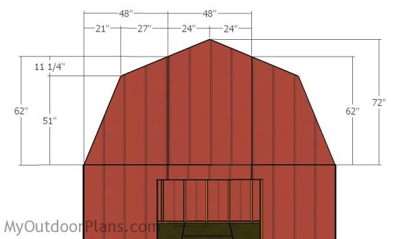 12x16 gambrel shed roof plans myoutdoorplans free for Gambrel roof dimensions
