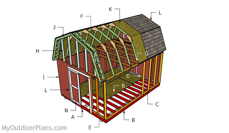 12x16 Gambrel Shed Roof Plans