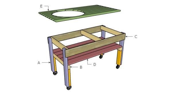 Xl big green egg table plans myoutdoorplans free for Free greene and greene furniture plans