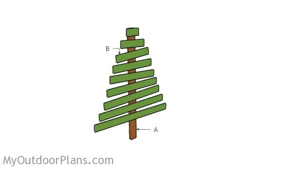 Building a wooden christams tree