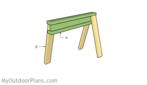 Building an i-beam sawhorse