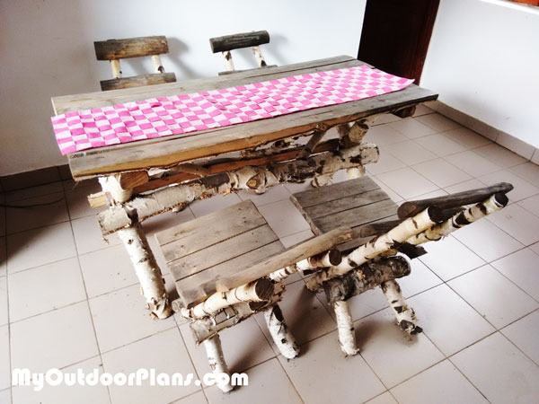 Picnic table with chairs