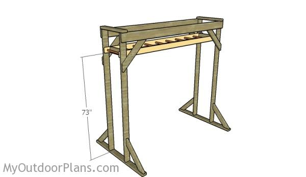 Fitting the monkey bars frame