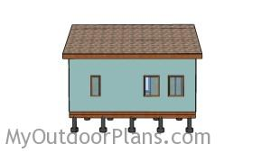 12x24 Tiny House with Loft Plans - Side view