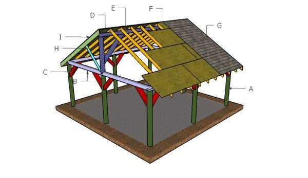 20x20 picnic shelter roof plans myoutdoorplans free for 20x20 house