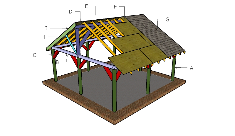 20x20 Picnic Shelter Roof Plans