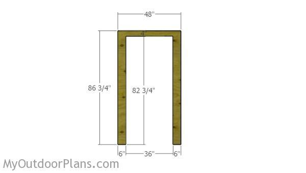 Plywood around door opening