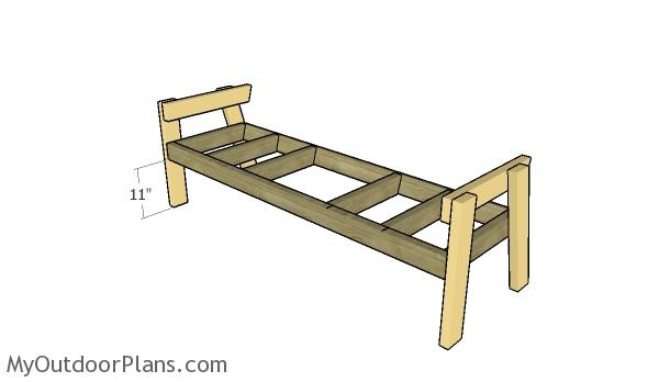 Assembling the frame of the bench