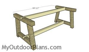 Assembling the frame of the farmhouse table