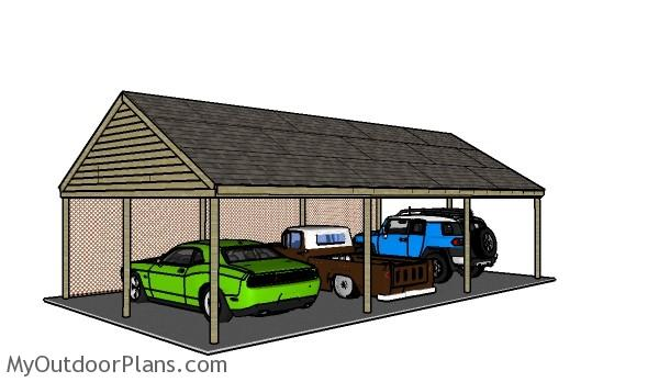 3 car carport plans myoutdoorplans free woodworking plans and projects diy shed wooden. Black Bedroom Furniture Sets. Home Design Ideas