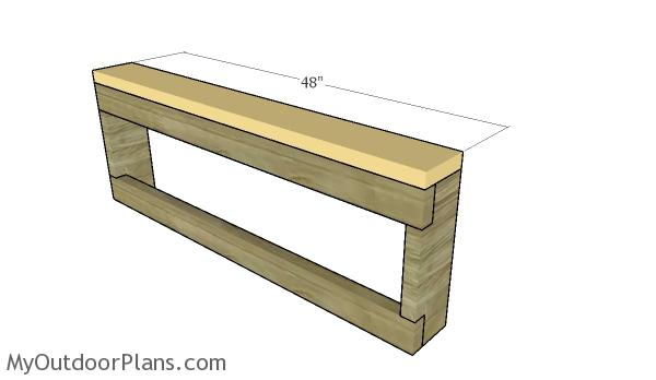 Fitting the top of the benches