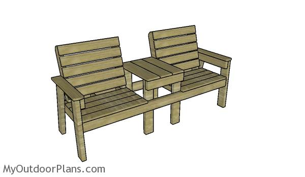 Large Double chair bench with table plans