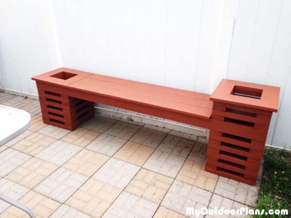 DIY Bench with Two Planters