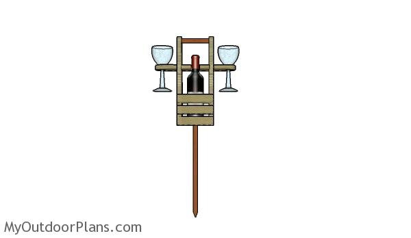 Building an outdoor wine caddy with 2 glass supports