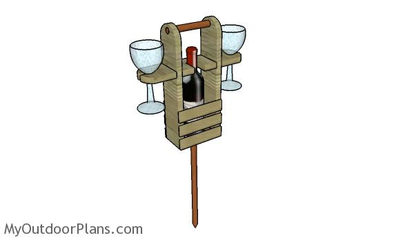 Outdoor Wine Caddy with Glass Supports