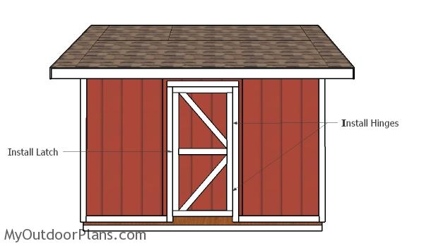 Fitting the door to the shed