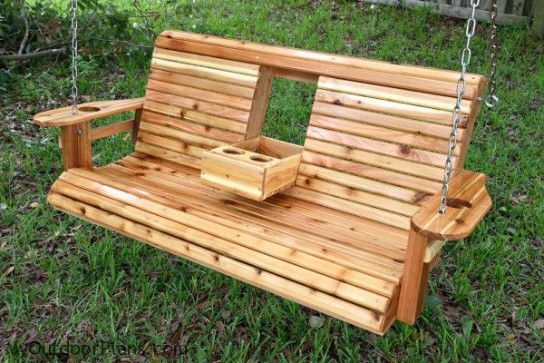 Porch swing with center console