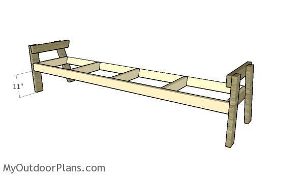 Assembling the frame for the 8 ft bench